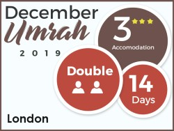 3 Star Umrah Package, London, December 2019, Double Room