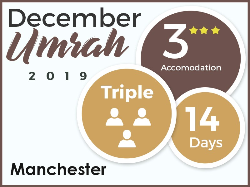 Cost Of Umrah Visa Fees 2019 2020: December 3* Umrah Package, Manchester 2019, Double Room